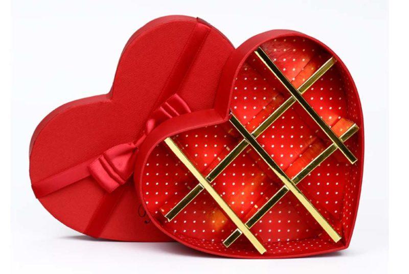 chocolate hearts rigid paperbox