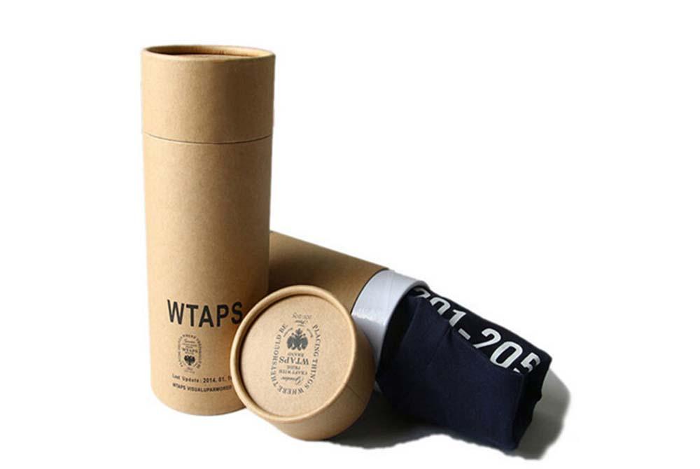 Custom Print Brown Kraft Paper T Shirt Packaging Tube Can