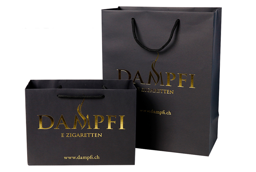 Custom Logo Premium Black Shopping Bags Paper Hand Bag