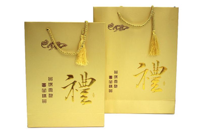 golden paper wine gift bags wholesale