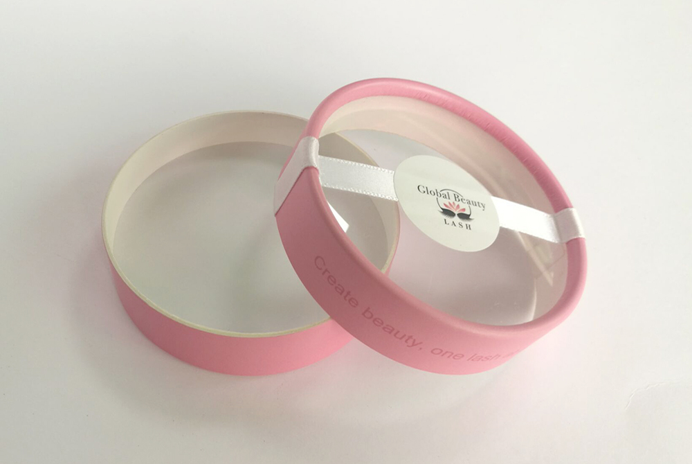 round pink lash box