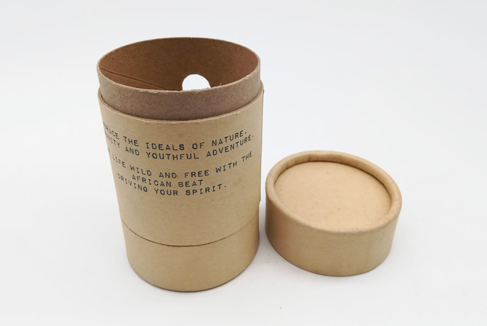brown cardboard tube packaging with window