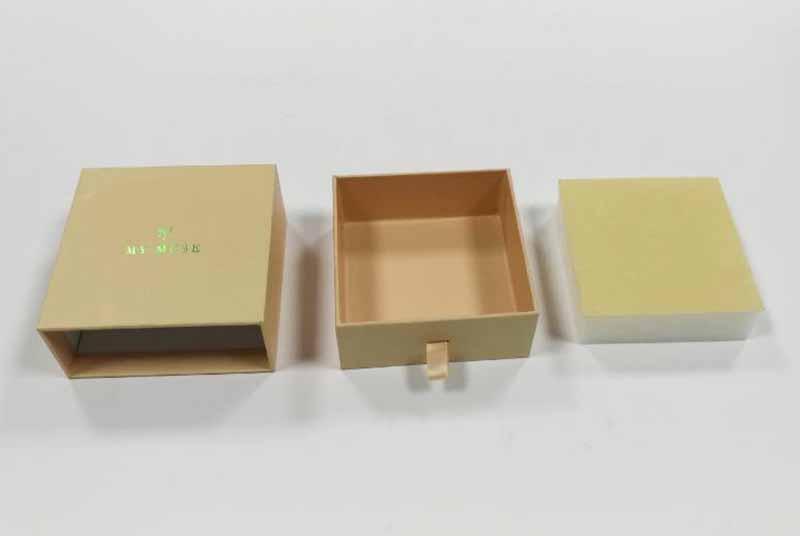 rigid brown kraft velvet jewelry box