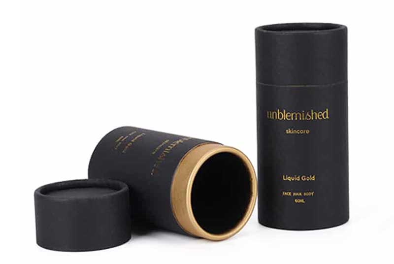 black paper tube packaging for skincare bottle