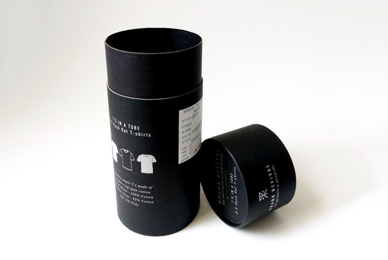 t shirt tube cilinder packaging