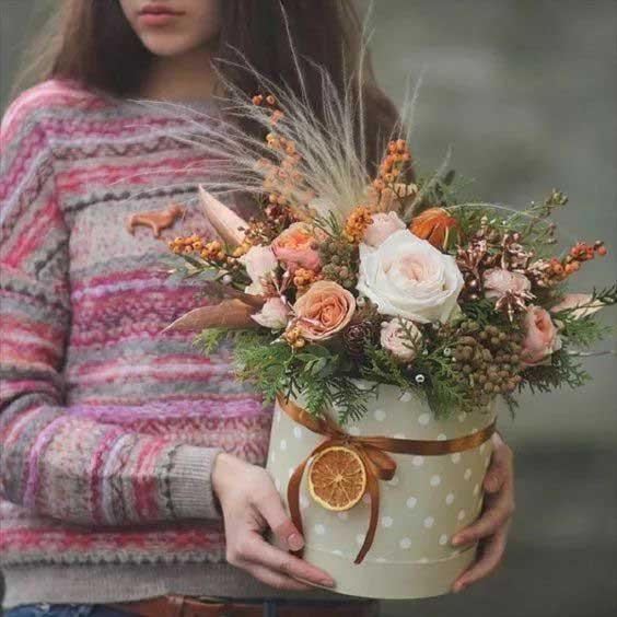 pink big round flower box
