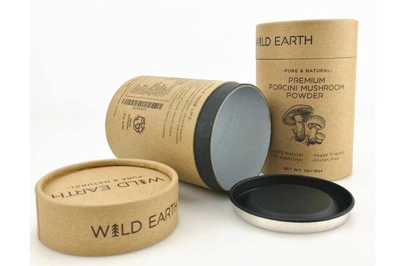 kraft round paper tube packaging with metal lid for food