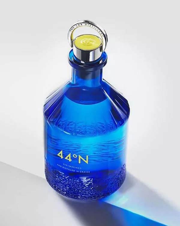 blue glass wine bottle