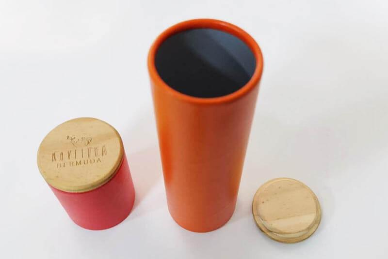 cylinder white tea tube with wood cap