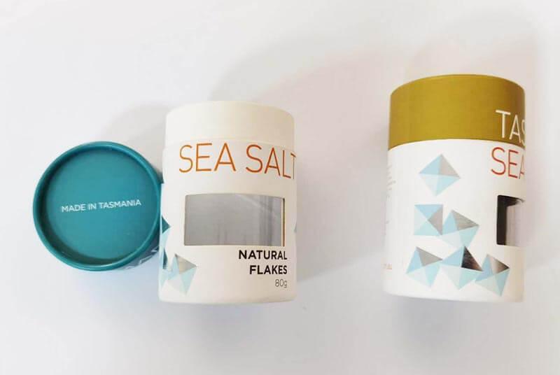 eco paper salt jar printed window packaging