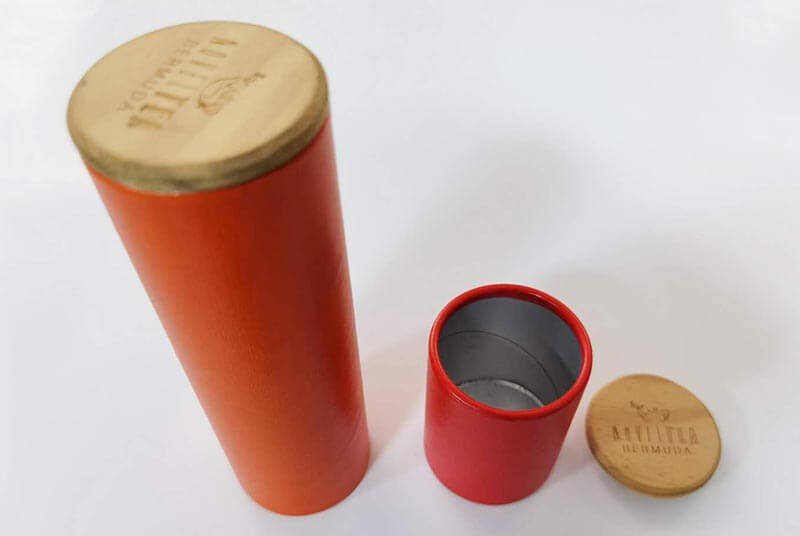 eco paper tube with wooden cap