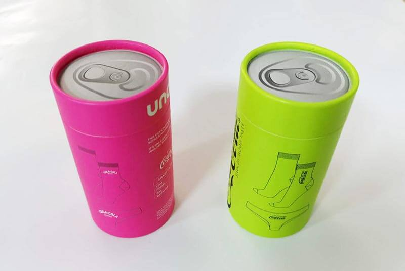 coca cola shaped cardboard cylinder for socks underwear