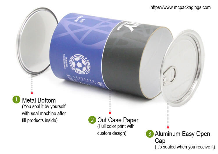 paper tube packaging for food with easy open top
