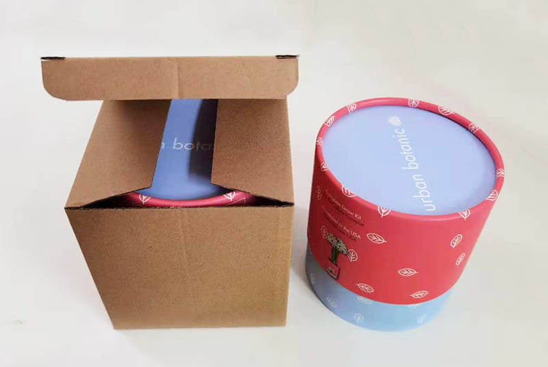 round cardboard plant pots with mailer box